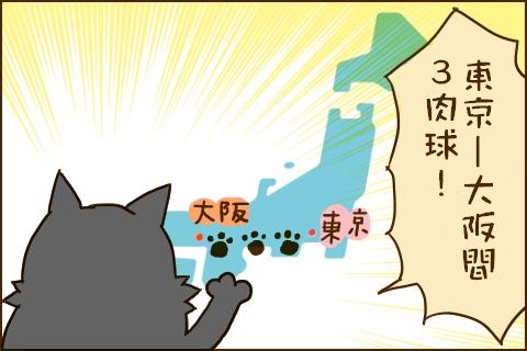 2コマ目:クロ錦「toukyou  -大阪間 3肉球(猫の距離単位)」