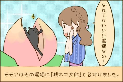 「なんてかわいい黒猫なの!」モモアはその黒猫に「桃ネコ太郎」と名付けました。