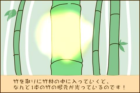 竹を取りに竹林の中に入っていくと、なんと1本の竹の根元が光っているのです!